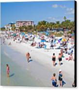 Crowd On A Summer Beach In Ft Meyers Florida Canvas Print by ELITE IMAGE photography By Chad McDermott