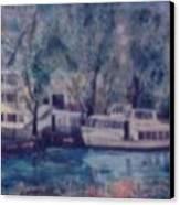 Cruiseboat On Rhine River Germany Canvas Print