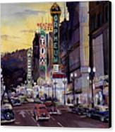 Crusin' Broadway In The Fifties Canvas Print by Mike Hill