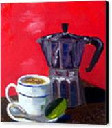 Cuban Coffee And Lime Red Canvas Print by Maria Soto Robbins
