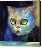 Curious Kitten Watercolor Painting  Canvas Print