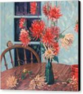 Dahlias With Red Cup Canvas Print