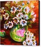 Daisies And Ginger Jar Canvas Print