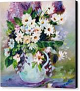 Daisies And Lilacs Canvas Print