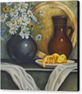 Daisy Stillife With Oranges Canvas Print by Ann Arensmeyer