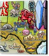 Dallas Texas Cartoon Map Canvas Print