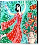 Dancer In Red Sari Canvas Print