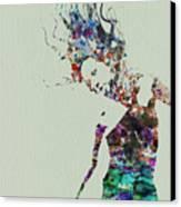 Dancer Watercolor Splash Canvas Print