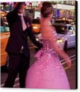 Dancing In Times Square Canvas Print by Vijay Sharon Govender