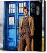 David Tennant As Doctor Who And Tardis Canvas Print by Elizabeth Coats