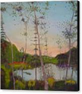 Dawn By The Pond Canvas Print