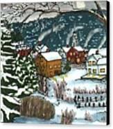 December Village Silk Painting Canvas Print