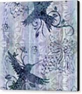 Deco Hummingbird Blue Canvas Print by JQ Licensing
