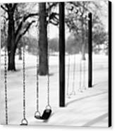 Deep Snow & Empty Swings After The Blizzard Canvas Print