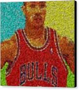 Derrick Rose Skittles Mosaic Canvas Print by Paul Van Scott