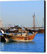 Dhows In Doha Bay Canvas Print