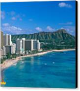 Diamond Head And Waikiki Canvas Print