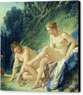 Diana Getting Out Of Her Bath Canvas Print by Francois Boucher