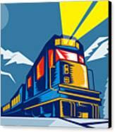 Diesel Train Winter Canvas Print by Aloysius Patrimonio
