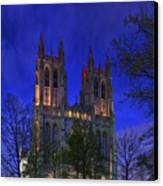 Digital Liquid - Washington National Cathedral After Sunset Canvas Print by Metro DC Photography