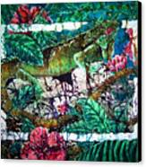 Dining At The Hibiscus Cafe - Iguana Canvas Print