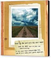 Dirt Road With Scripture Verse Canvas Print by Jill Battaglia