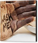 Dirty Hand With Soap Canvas Print by Blink Images