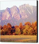 Distant Cattle Grazing Beneath Cascade Mountains 1 Canvas Print
