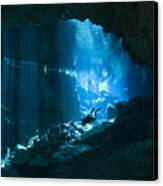 Diver Enters The Cavern System N Canvas Print