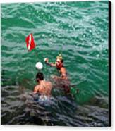 Divers At Sebastian Inlet On The Atlantic Coast Of  Florida Canvas Print