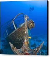 Divers Visit The Pelicano Shipwreck Canvas Print