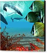 Diving Whales Canvas Print by Corey Ford