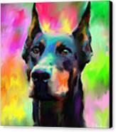 Doberman Pincher Dog Portrait Canvas Print