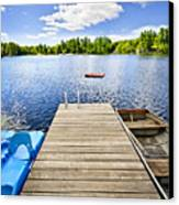 Dock On Lake In Summer Cottage Country Canvas Print by Elena Elisseeva