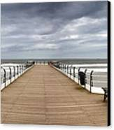 Dock With Benches, Saltburn, England Canvas Print by John Short