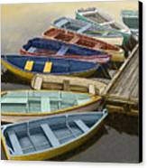 Dock With Colorful Boats Canvas Print by Dennis Orlando