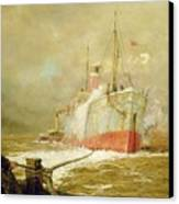 Docking A Cargo Ship Canvas Print by William Lionel Wyllie
