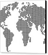 Dot Map Of The World - Black And White Canvas Print by Michael Tompsett