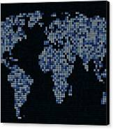 Dot Map Of The World - Blue Canvas Print by Michael Tompsett