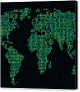 Dot Map Of The World - Green Canvas Print by Michael Tompsett