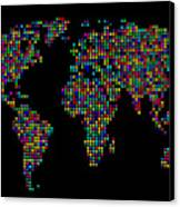 Dot Map Of The World - Multi Colours Canvas Print