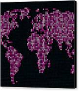 Dot Map Of The World - Pink Canvas Print