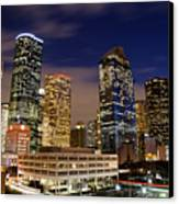 Downtown Houston At Night Canvas Print by Olivier Steiner