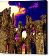 Dracula Abbey In Whitby England Canvas Print by Jen White