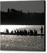 Dragon Boat Silhouette Canvas Print by Stuart Turnbull