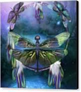 Dream Catcher - Spirit Of The Dragonfly Canvas Print