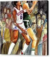 Dr.j Vs. Larry Bird Canvas Print by Dave Olsen