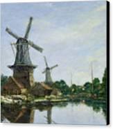 Dutch Windmills Canvas Print by Eugene Louis Boudin