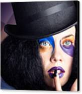 Eccentric Mad Fashion Hatter In Colourful Makeup Canvas Print