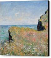 Edge Of The Cliff Pourville Canvas Print by Claude Monet